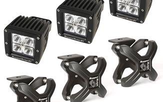 "X-Clamp Kit (2.25-3"") with Cube LED Lights, (15210.92 / JM-05224 / Rugged Ridge)"