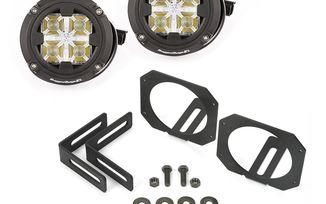 LED Light & Mount Kit, Dual Round, JK Fog Light Upgrade (11232.17 / JM-04299 / Rugged Ridge)