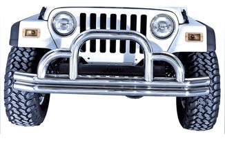 Defender Front Bumper, SS, 55-06 CJ & Wrangler (11521.01 / JM-03108 / Rugged Ridge)