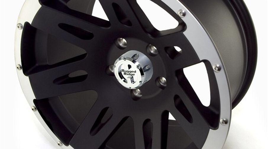 XHD Aluminum Wheel, Black with Machined Lip, 17X9 (15301.10 / JM-02219 / Rugged Ridge)