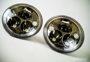 "7"" Vortex LED Headlights x 2 (Black Chrome) RHD (XIL-7RERBKIT / JM-02556 / Vision X lighting)"