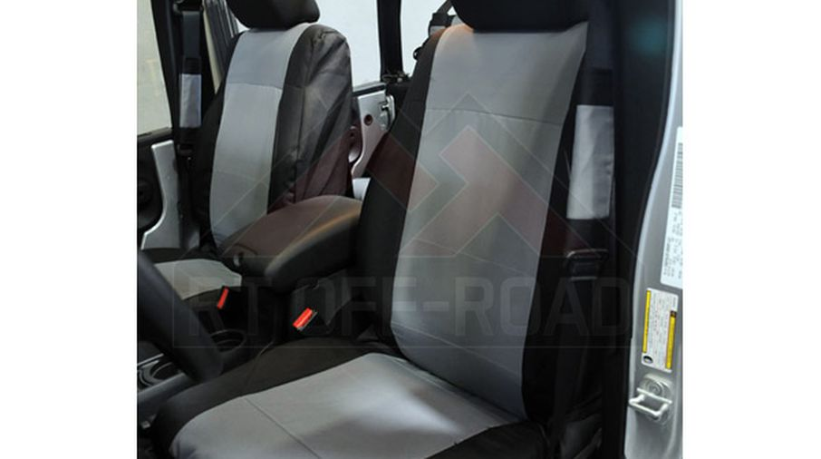 Front Seat Covers, (Black / Grey) JK (SC30021 / JM-01854 / RT Off-Road)