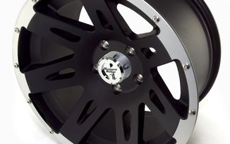 XHD Aluminum Wheel, Black with Machined Lip, 17X9 (15301.10 / JM-02219 / Rugged Ridge)
