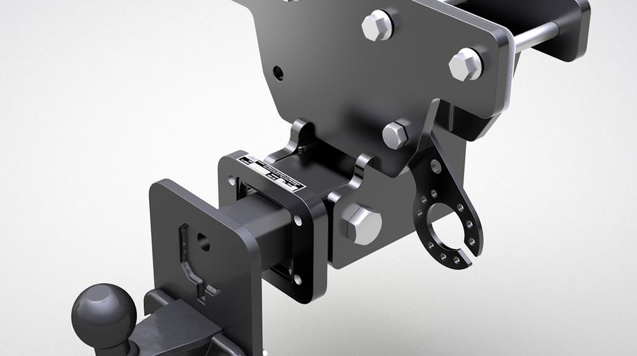 Trailer hitch with height adjustable ball mount, JK (E Marked) (688.97 / JM-05804/B / DuraTrail)