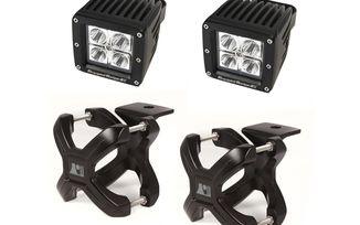Large X-Clamp & Square LED Light Kit, Black, 2-Pc. (15210.91 / JM-02607 / Rugged Ridge)