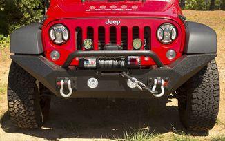 Front Recovery Bumper, Spartan High Clearance With Overrider, JK (11548.01 / JM-03973 / Rugged Ridge)