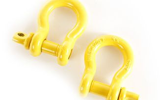 D-rings, 3/4 inch, yellow, pair (11235.15 / JM-02644 / Rugged Ridge)