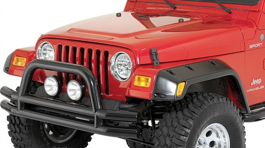 Front Bumper, Black Double Tube w/ Hoop (11560.01 / JM-03093/OS / Rugged Ridge)