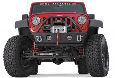 Front Recovery Bumper, Warn Stubby with Guard, JK (87600 / JM-02087 / Warn)