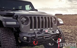Front Recovery Bumper, Arcus, w/ Winch Tray & Tow Hooks,  JL (11549.04 / JM-04673 / Rugged Ridge)