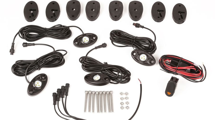 LED Rock Light Kit with Harness, 4-pc, (11232.40 / JM-04184 / Rugged Ridge)