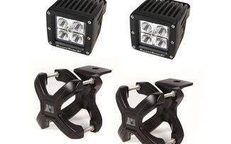 Large X-Clamp & Square LED Light Kit, Black, 2-Pc. (15210.91 / JM-02607 / Rugged Ridge)