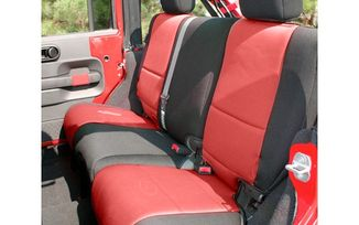 Neoprene Rear Seat Covers, Black/Red, 2 Door (13265.53 / JM-03060 / Rugged Ridge)