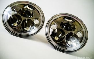 "7"" Vortex LED Headlights x 2 (Black Chrome) LHD (XIL-7RELBKIT / JM-04042 / Vision X lighting)"