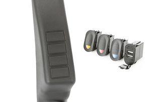A-Pillar Pod Kit, 3 Switch, USB. LHD (17235.98 / JM-00978 / Rugged Ridge)