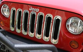 Grille Insert Kit, Chrome; 07-18 Jeep Wrangler JK (11306.20 / JM-03435 / Rugged Ridge)