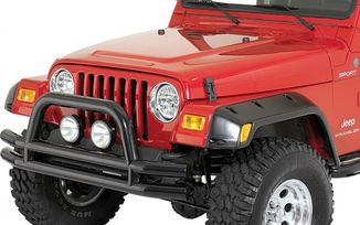 Front Bumper, Black Double Tube w/ Hoop (11560.01 / JM-03093 / Rugged Ridge)