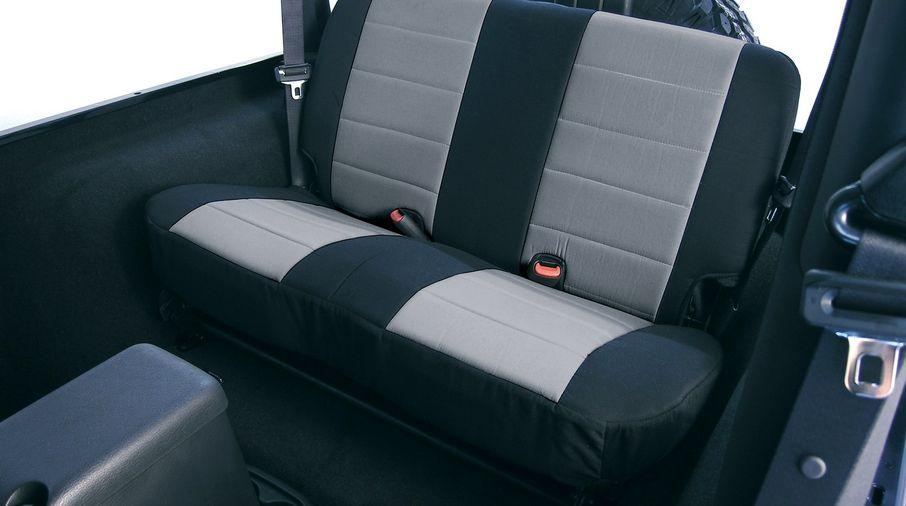 Rear  Seat Covers, Grey/Black Neoprene, TJ 03-06 (13263.09 / JM-04791/B / Rugged Ridge)