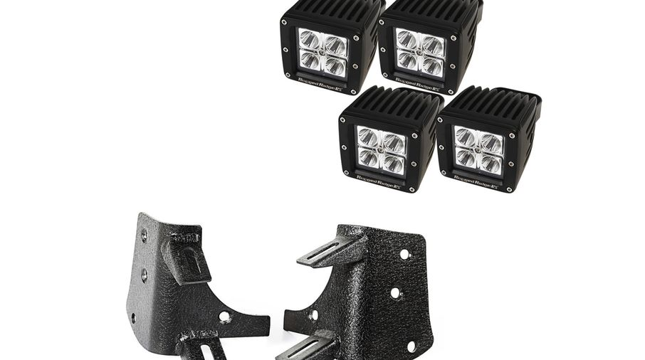 Dual A-Pillar LED Kit, 3-Inch Square Lights;, TJ (11232.38 / JM-04301 / Rugged Ridge)