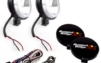 "6"" Round Slim Halogen Light Kit, Black (15207.58 / JM-02440 / Rugged Ridge)"