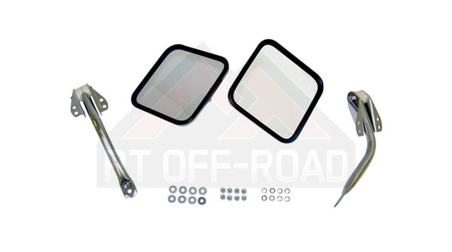 Mirror and Arm Kit, Stainless, CJ (RT30003 / JM-01549OS / RT Off-Road)