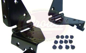 Windshield Frame Hinge Kit (Black) (5462424-25K / JM-01969 / Crown Automotive)